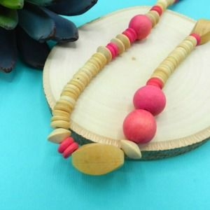 Pink And Natural Wooden Bead Necklace